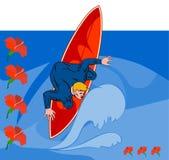 De kerel berijdende golf van Surfer Royalty-vrije Stock Afbeeldingen