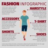 De kerel in de zomerkleren vormt infographic Royalty-vrije Stock Foto's