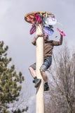 De kerel komt neer uit de post met de prijs voor Carnaval Stock Fotografie