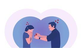 De kerel met de ring doet een voorstel aan het meisje Vector Illustartion royalty-vrije illustratie