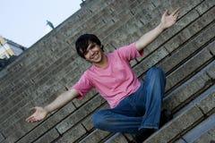 De kerel op een ladder Potemkinskaya Stock Foto's