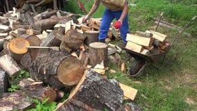 De kerellading gehakt brandhout van de dorpsbewonermens aan roestige kruiwagen 4K stock footage