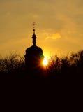 De kerk bij zonsondergang royalty-vrije stock afbeelding