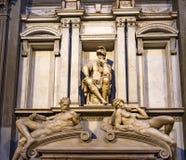 De Kerk Florence Italy van Michelangelo Statues Chapel San Lorenzo Medici stock foto