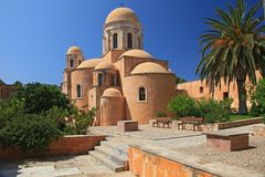 De kerk in het Klooster van Agia Triada (Kreta, Griekenland Royalty-vrije Stock Foto's