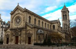 De kerk notre-dame-des-Champs bij boulevard du Montparnasse parijs Stock Afbeelding