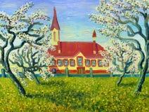 De kerk Tot bloei komende appel-bomen Royalty-vrije Stock Fotografie