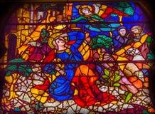 De Kerk van aankondigingsmary angel stained glass window orsanmichele stock foto
