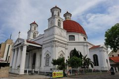 De Kerk van Blenduksemarang is een kerk die in 1753 werd gebouwd en is ??n van de ori?ntatiepunten in de oude stad royalty-vrije stock afbeeldingen