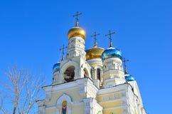 De Kerk van bogoroditsi van Pokrova Presvyatoy in Vladivostok Royalty-vrije Stock Afbeeldingen