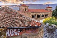 De kerk van Byzantium van St Sofia in Ohrid royalty-vrije stock afbeeldingen