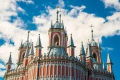 De Kerk van Chesme Kerk van St John Baptist Chesme Palace in Heilige Petersburg, Rusland Royalty-vrije Stock Fotografie