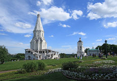 De Kerk van de Beklimming (1532), de eerste tent-dak steenkerk in Kolomenskoye, Moskou, Rusland Royalty-vrije Stock Fotografie