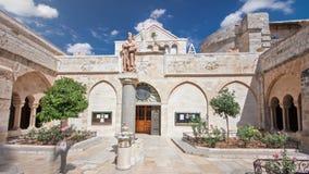 De Kerk van de Geboorte van Christus van Jesus Christ timelapse hyperlapse Palestin De stad van Bethlehem stock videobeelden