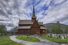 De kerk van de Lomstaaf - stavkirke - middeleeuwse tempel, Noorwegen, Lom Royalty-vrije Stock Fotografie