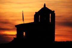 De kerk van de zonsondergang stock afbeeldingen