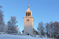 De Kerk van Dorotea in de winter, Zweden Stock Afbeelding