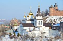 De Kerk van Elijah de Helderziende en het Kremlin Nizhny Novgorod, Rusland stock foto