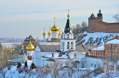 De Kerk van Elijah de Helderziende en het Kremlin Nizhny Novgorod, Rusland stock fotografie