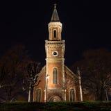De Kerk van Evangelischechristuskirche in Salzburg bij Nacht stock fotografie