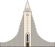 De kerk van Hallgrimskirkja in Reykjavik, IJsland Stock Foto's