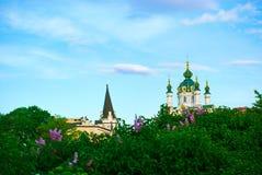 De Kerk van heilige Andrew in Kiev. De Oekraïne Royalty-vrije Stock Afbeeldingen