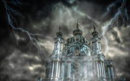 De kerk van heilige Andrew ` s in KyivKiev Stock Afbeeldingen