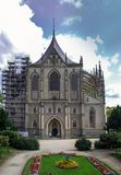 De Kerk van heilige Barbara - Roman Catholic-kerk in Kutna Hora stock afbeelding