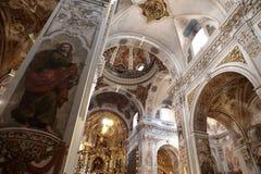 De kerk van heilige Madeleine in de muurdetails van Sevilla stock afbeelding