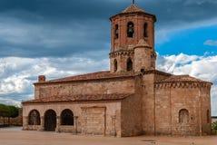 De Kerk van heilige Michel in Almazan Soria stock foto