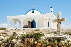 De Kerk van Heilige Thecla op de Middellandse Zee in Ayia NAPA Royalty-vrije Stock Fotografie