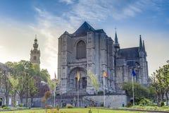 De kerk van heilige Waltrude in Mons, België. stock fotografie