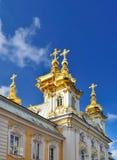 De Kerk van het Paleis van Peterhof stock afbeeldingen