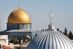 De kerk van Jeruzalem en Koepel van de Rots Stock Foto's