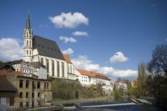 De Kerk van Krumlov van Cesky stock afbeelding