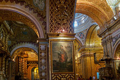 De kerk van La Compania in Quito, Ecuador Stock Foto