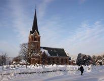 De Kerk van Lillehammer Stock Afbeeldingen