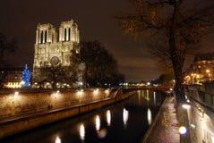 De kerk van Notre Dame en de zegenrivier in Parijs Royalty-vrije Stock Foto's
