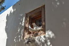 De Kerk van Panagiaepiskopi in Santorini-eiland, Thira, Cycladen, Griekenland stock foto