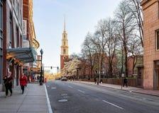 De Kerk van de parkstraat in Tremont-doctorandus in de letteren de van de binnenstad Amerika van Straatboston stock afbeelding