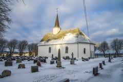 De kerk van Rokke in de winter (zuidoosten) Stock Foto's