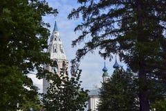 De Kerk van Rusland, van witte steen, Stock Foto's