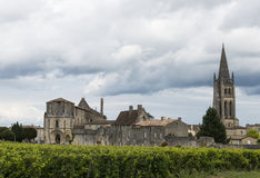 De Kerk van Saint Emilion Frankrijk stock foto