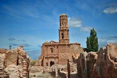 De Kerk van San Agustin in Belchite Stock Afbeelding