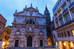 De Kerk van San Moise in Venetië Stock Foto's