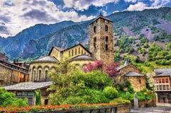 De kerk van Santesteve in La Vella van Andorra stock afbeeldingen