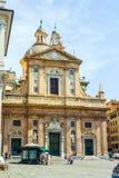 De kerk van Santi Ambrogio e Andrea van Gesue dei van Genua, Italië royalty-vrije stock foto's