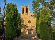 De kerk van Santpere de pals Girona, Spanje Royalty-vrije Stock Foto's