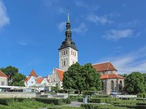 De Kerk van Sinterklaas ` in Tallinn, Estland stock afbeeldingen