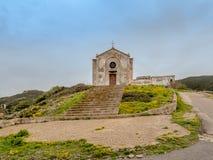 De Kerk van St Barbara in Argentiera stock fotografie